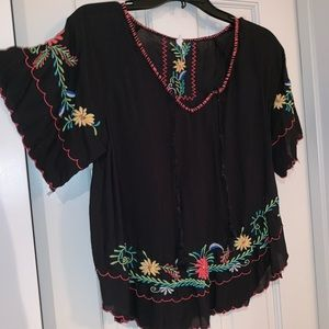 Willow & Clay Embroidered V Neck Top